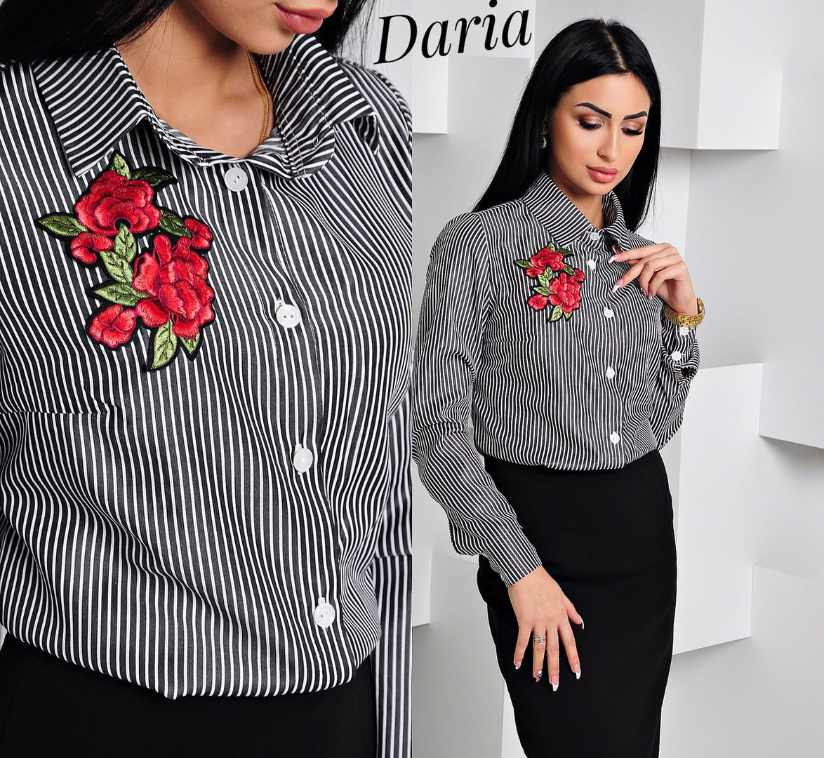 Женская рубашка в полоску длинная, белая, туника, с вышивкой