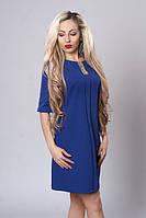 Красивое прямое платье синего цвета с украшением