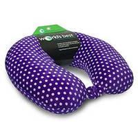 Ортопедическая дорожная подушка для шеи World's Best Mini Polka Dot Feather Soft Microfiber, Purple
