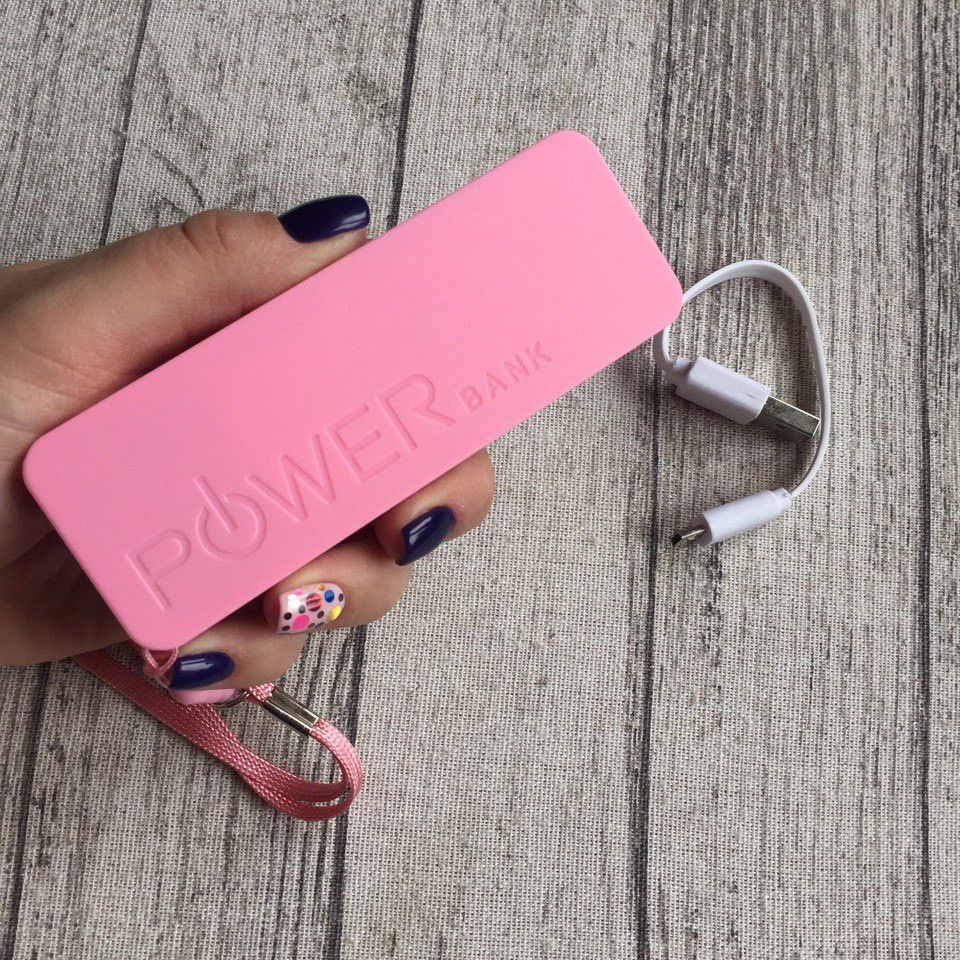 Power Bank для смартфона, бледно-розовый внешний аккумулятор 2600 мАч