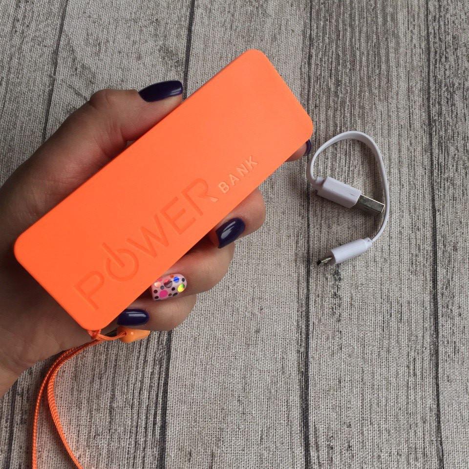 Power Bank для смартфона, оранжевый внешний аккумулятор 2600 мАч