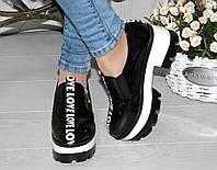Женские лаковые туфли ,Лове,черные на небольшом каблуке р.40,41