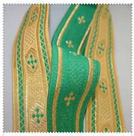 Тесьма церковная Анна золото/зелень 40мм