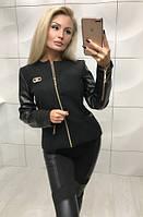 Женская кашемировая куртка с кожаным рукавом 4 цвета