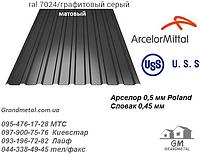 Профнастил матовый графитовый серый РАЛ 7024 ArselorMittal, профнастил серый графит матового цвета Поляк 0,5мм