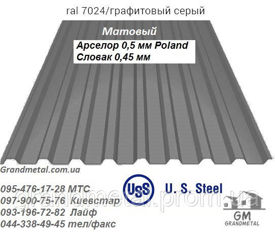 Профнастил серый РАЛ 7024 U.S.Steel, профнастил графитового матового цвета Словак 0,45мм