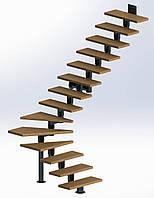 Поворотная модульная лестница  Универсал Эконом 14 ступеней шириной 800