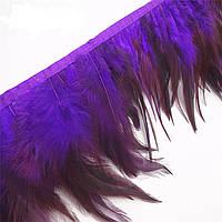 Перья декоративные петуха на ленте Фиолетовые 25 см
