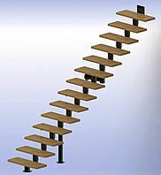Прямая модульная лестница  Универсал Премиум 13 ступеней шириной 900