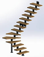 Поворотная модульная лестница  Универсал Премиум 15 ступеней шириной 750