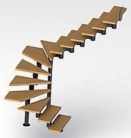 П-образная модульная лестница  Универсал Премиум 13 ступеней шириной 900