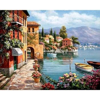 Живопись Пейзаж Венеция 40*50рисуем сами по цифрам, картина, пейзаж, рисование маслом