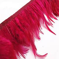Перья декоративные петуха на ленте Темно-красные 25 см
