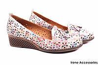 Туфли летние Guero женские натуральная кожа, цветные (мокасины, танкетка, перфорация, комфорт, Турция)
