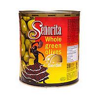 Оливки с косточкой крупные Senorita, Испания, 3кг, сухой вес 1,75кг, калибр 80/90 ж/б банка