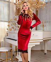 Платье красное из велюра с кружевом  р 42,44,46