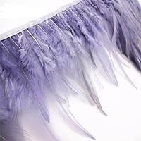 Перья декоративные петуха на ленте Сиренево-серые 25 см