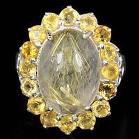 Серебряное кольцо 925 пробы с натуральным золотистым рутиловым кварцем. Размер 17,5