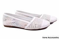 Стильные балетки Phany натуральная кожа, цвет белый (мокасины, каблук, перфорация, комфорт, Турция)