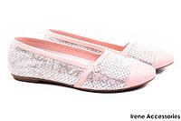 Стильные балетки Phany натуральная кожа, цвет розовый (мокасины, каблук, перфорация, комфорт, Турция)