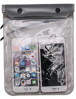 Водонепроницаемый чехол сумка для телефона, планшета, документов XXL. Серый