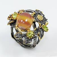 Кольцо ручной работы из серебра 925 пробы с натуральным флюоритом