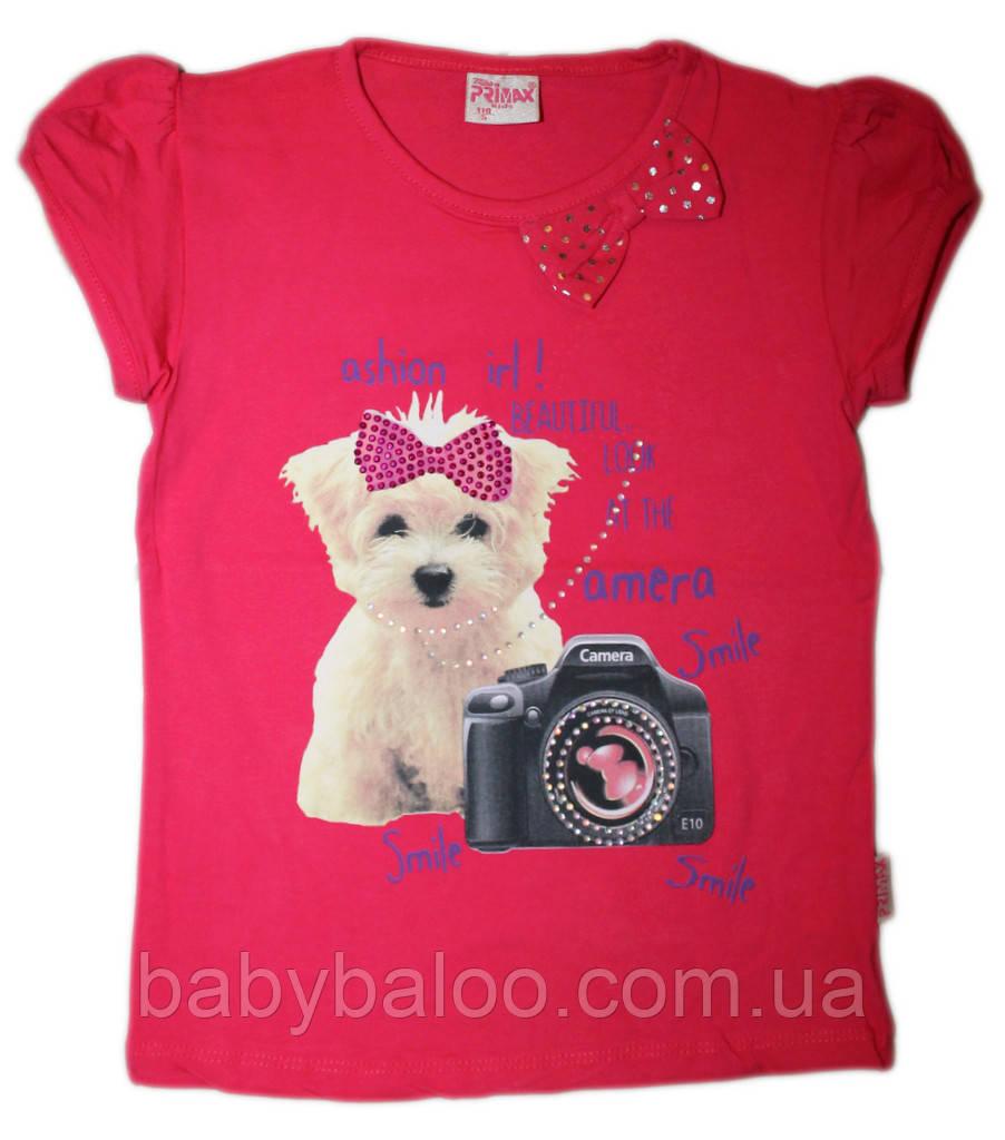 Стильная футболка детская Собачка бант (рост от 92см до 110 см)