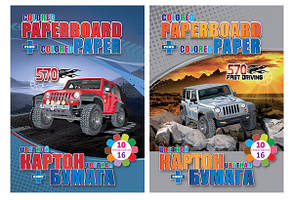 Набор Kidis картон двухстор.8л+2л картон металик+цветная бумага 6л WHEEL DRIVE
