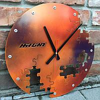 Настенные часы из металла Puzzle rust (400х400х35 мм) [Металл, Открытые]