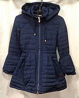 Куртка-пальто демисезонное подростковое для девочки 10-14 лет,темно синее