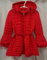 Куртка-пальто демисезонное подростковое для девочки 10-14 лет,красное