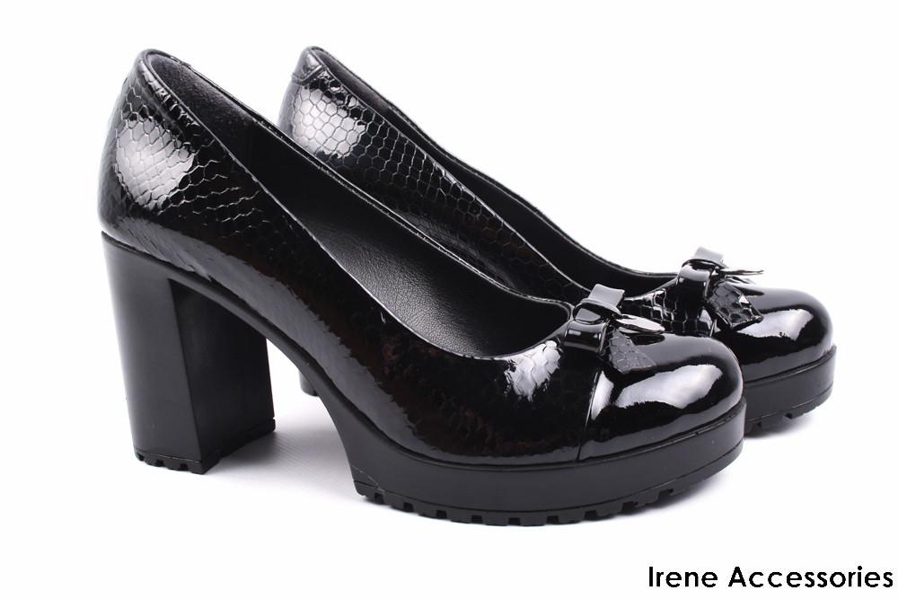 bc9cfc051 Элегантные туфли с бантом женские Phany натуральная лаковая кожа  (модельные, каблук, черные,