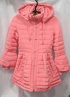 Куртка-пальто  демисезонное подростковое для девочки 10-14 лет,розовое