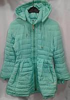 Куртка-пальто демисезонное подростковое для девочки 10-14 лет,бирюзовое