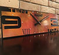 Часы настенные в стиле лофт Ten-four-rectangle (600х200х35 мм) [Металл, Открытые]