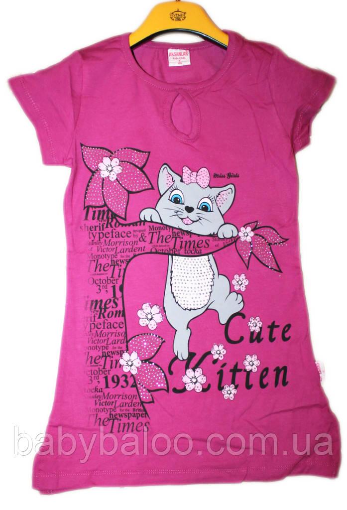 Двухсторонняя туника-футболка на подростока Кошка слёзка  (от 5 до 8 лет)
