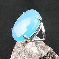 Агат халцедон голубой, серебро 925, кольцо, 309КХ
