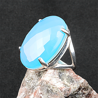 Агат халцедон голубой, серебро 925, кольцо, 309КХ, фото 1