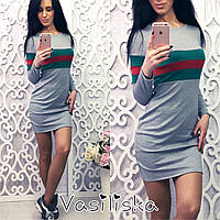 Платье модное спортивное мини трикотаж разные цвета SMV1239