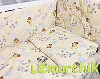 """Постельный набор в детскую кроватку (8 предметов) Premium """"Винни Пух"""" желтый"""