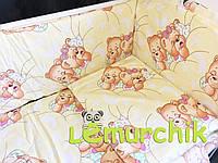 """Постельный набор в детскую кроватку (8 предметов) Premium """"Мишки спят"""" желтый"""