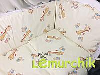 """Постельный набор в детскую кроватку (8 предметов) Premium """"Жирафы"""" бежевый"""