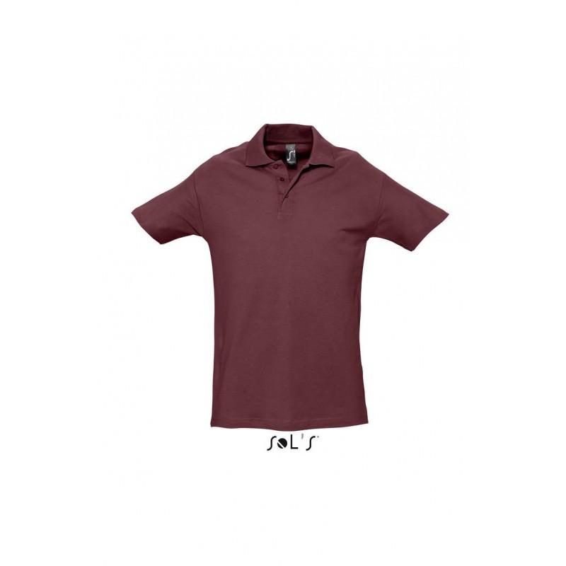 Рубашка поло бордовая  SOL'S SPRING II, размеры от S до 5XL, плотность 210 г/м2