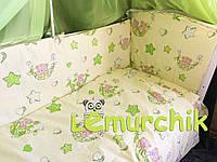 """Постельный набор в детскую кроватку (8 предметов) Premium """"Мишки в гамаке"""" салатовый"""