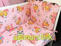 """Постельный набор в детскую кроватку (8 предметов) Premium """"Мишки пчелки"""" розовый"""