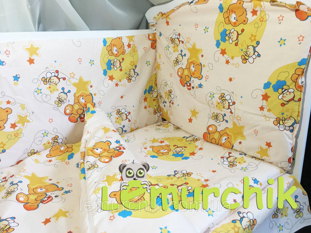 """Постільний набір в дитячу ліжечко (8 предметів) Premium """"Ведмедики бджілки"""" бежевий"""