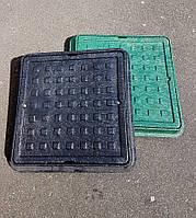 Люк Ромашка, квадратный, с замком, 550х550,зеленый