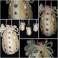 """Пасхальный декор """"Яйцо с кружевом"""" ручной работы, 12 см., 95/85 (цена за 1 шт. + 10 гр.), фото 1"""