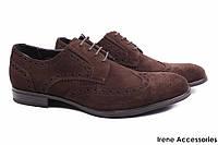 Мужские стильные туфли Cosottinni нубук цвет коричневый (мокасины мужские, комфорт, каблук)
