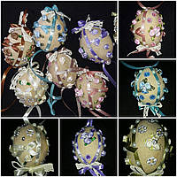 """Кофейная игрушка , украшение для корзины """"Яйцо с кружевом и лентами"""",85/78,8-9 см (разные цвета)(за 1 шт+7грн)"""